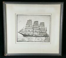 The Grain Race Vintage 1940s Signed Original Don Swann Etching Framed 12.7x11.7