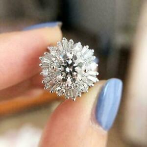 Daisy Cluster Engagement Wedding Flower Halo Ring 14K White Gold 2 Ct Diamond