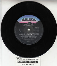 "WHITNEY HOUSTON Saving All My Love For You 7"" 45 rpm record + juke box strip"