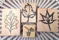 Lot 4 Stamps 3 Fall Leaves Leaf & 1 Acorn Mounted Rubber Brand New