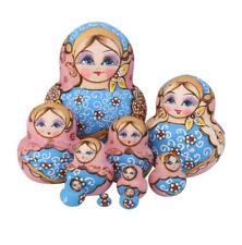 10pcs Blue Dolls Set Wooden Russian Nesting Babushka Matryoshka Hand Painted