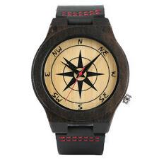 Wooden Watch Compass Genuine Leather Dark Brown Black Quartz Unisex Wristwatch