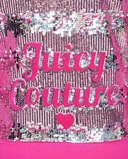 NWT Juicy Couture Logo Sequins Velour Original Jacket in Sweet Raspberry-XL