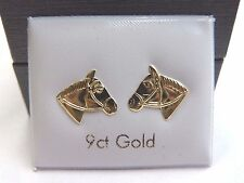 New 9ct Gold Horse Head Stud Earrings