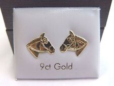 9ct Gold Horse Head Stud Earrings