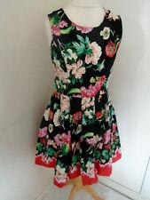 YUMI Dress Size 12 Black Floral Skater Cotton Blend Casual Boho