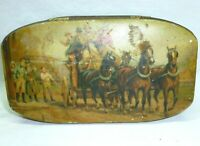 Vintage Antique Pioneer Horse Carriage Ornate Canister Tin Decor England