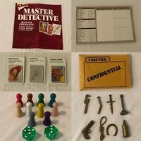 Clue Board Master Detective Game REPLACEMENT Parts Pieces Cards Notepad Weapons