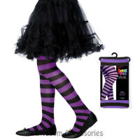 A879 Black Purple Striped Costume Tights Stockings Witch Halloween Accessories