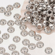 100pcs Plated Silver Metal Rondelle Spacer Beads Jewerly Craft Making DIY 6mm