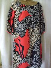 BIBA SIZE 8 RED MULTI ¾ SLEEVE V BACK TUNIC DRESS