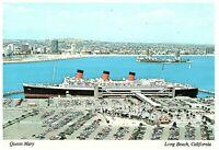Cunard Line R M S Queen Mary Aerial View Long Beach Harbor CA Postcard 4 x 6