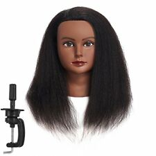Afro American 100% Human Hair Cosmetology Mannequin Head Hairdresser Training