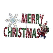 """44/"""" MERRY CHRISTMAS Holographic Sign Santa Clause Outdoor Holiday Decor NEW"""