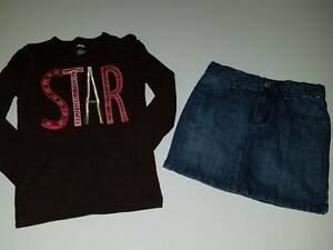 NWT EUC Gymboree Star Of The Show Brown Top Shirt Denim Skirt 6 7