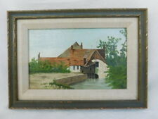 CHARLES SCHRAM SMALL OIL PAINTING LISTED ARTIST 7 1/4 X 4 3/8 FARMHOUSE