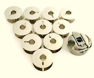 Spulenkapsel + 10 Metall Spulen für Veritas Nähmaschinen 8014/11, 8014/2002 ...