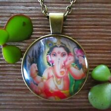 GANESHA Lord of Beginnings GOOD FORTUNE ~ SUCCESS Glass Bronze Pendant Necklace