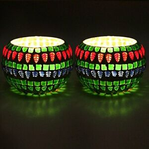 Colourful Mosaic Pot Shaped Tealight Holder Candle Light Holder- Set Of 2