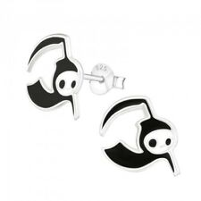 Boys  / girls sterling silver Halloween black devil stud earrings  - pouch