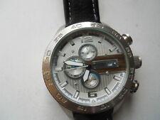 Fossil Hombres Cronógrafo Cuero Negro, cuarzo, Pila & ANALOGICO watch.ch-2558