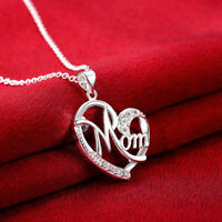 Womens 925 Sterling Silver CZ Love Mom Heart Pendant Link Chain Necklace #N172