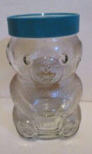 VINTAGE SKIPPY PEANUT BUTTER FIGURAL GLASS BEAR SHAPED JAR BLUE LID EMPTY 1990