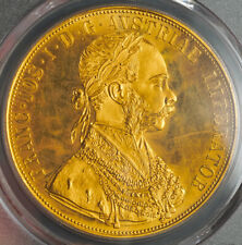 1915, Austria, Francis Joseph I. Large Gold 4 Ducats Coin. Re-Strike! PCGS MS63!