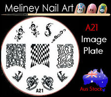A21 Stamping Nail Art Image Plate Design Round XL Stencil metal