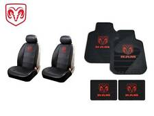 8 Pc Dodge Ram Syn. Leather Seat Covers & Front/Rear Rubber Floor Mats W/Logo