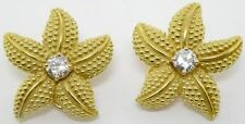 LADIES 18K YELLOW GOLD DIAMOND STAR FISH CLIP ON EARRINGS 1.00 CARAT