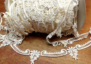 Vintage Venis Lace Trim Ivory Cream Rayon Dyeable Applique 1yd Made in USA