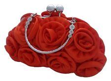 New Satin Silk Rose Plain Flower Wedding Evening Handbag Prom Clutch 14 Colours