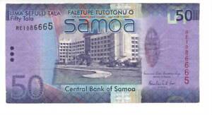 SAMOA $50 Tala VF+ HYBRID Banknote (2014 ND) P-41b Prefix RE Liuga-Erani Sign