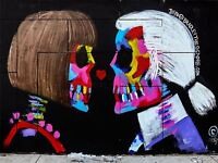 ART PRINT POSTER PHOTO GRAFFITI MURAL STREET SKULL WIG LOVE NOFL0325