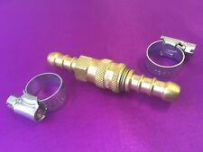 LPG Propane Butane 8mm Quick Release Snap Connector Coupler Coupling & 2 Clips