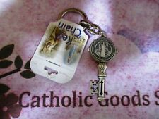 St. Saint Benedict Cross Medal Key  Key Chain - Silver Tone 1479-06