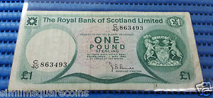 1981 Royal Bank of Scotland €1 One Pound C/40 863493 Note Banknote Currency