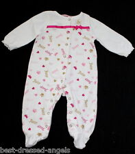 Juicy Couture Baby Girl Size 3-6 Monthsl Ivory Pink Gold Footed Sleeper Romper