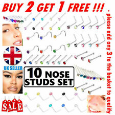 Surgical Steel Nose Studs Straight I L Screw Shape Set Pack Gold Silver Ball End