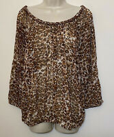 Lucky Brand Large Blouse Brown Animal Print 3/4 Sleeve Scoop Neck Tunic