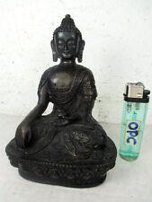 betagter Medizin Buddha mit filigran gravierten Drachen Tibet Bronze ~ 1970 15cm