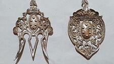 Silver white metal vintage Victorian antique pair of ornate salad server spoons