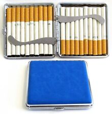2pc Set Stainless Steel Cigarette Case Hold 20pc Regular Size 84s - Blue + Black