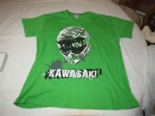 Womens Kawasaki moto shirt L large short sleeve t shirt Green EUC