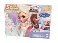 NEW DISNEY FROZEN ELSA ANNA 5 WOOD PUZZLES STORAGE BOX TRAY EDUCATIONAL PUZZLE