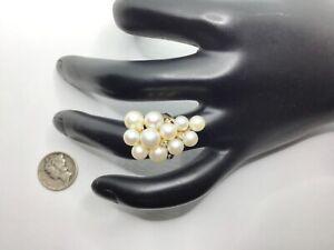 14K Yellow Gold, Akoya Pearls And Diamonds Ring, Size 4.5, 6.4 Grams