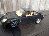 Burago 1:18 BLACK '97  PORSCHE 911 CARRERA Diecast Model Car Spares Diorama Toy