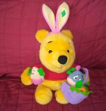 Vintage Mattel Disney EASTER WINNIE THE POOH Bear Sitting 13in Soft Plush 1999