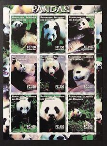 COMOROS PANDA STAMPS SHEET OF 9V 2000 MNH GIANT PANDA BEAR WILD ANIMALS WILDLIFE